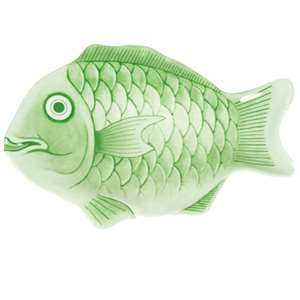"Thunder Group 16"" Fish Shape Melamine Platter, Light Green Color, 1 Dozen, THUND-1600CFG"