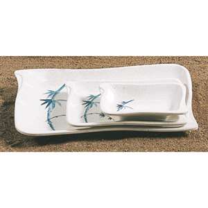 "Thunder Group 2 oz, 4"" X 2 3 / 4"" Wave Shape Sauce Dish, Blue Bamboo, 1 Dozen, THUND-1607BB"