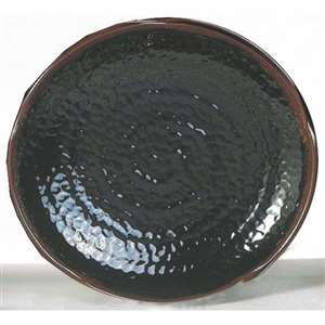 "Thunder Group 9 3 / 8"" Lotus Shape Plate, Tenmoku, 1 Dozen, THUND-1809TM"