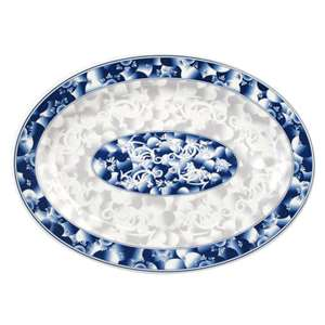 "Thunder Group 9 7 / 8"" X 7 1 / 4"" Platter, Blue Dragon, 1 Dozen, THUND-2010DL"