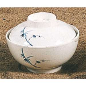 "Thunder Group 10 oz, 4 1 / 2"" Special Bowl With Lid, Blue Bamboo, 1 Dozen, THUND-3506BB"