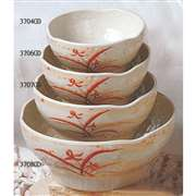 "Thunder Group 10 oz, 4 1 / 2"" Wave Rice Bowl, Gold Orchid, 1 Dozen, THUND-3704"