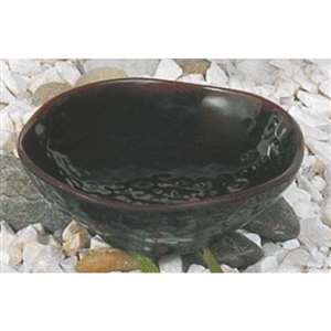 "Thunder Group 7 oz, 4 3 / 4"" Wave Rice Bowl, Tenmoku, 1 Dozen, THUND-3705TM"