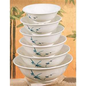"Thunder Group 34 oz, 8"" Deep Bowl, Blue Bamboo, 1 Dozen, THUND-5108BB"