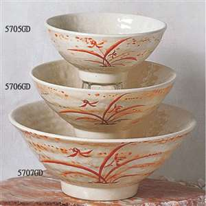 "Thunder Group 11 oz, 4 3 / 4"" Rice Bowl, Gold Orchid, 1 Dozen, THUND-5705"