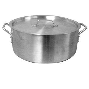 Thunder Group 12 Qt Aluminum Brazier Pot & Lid Mirror Finish, 1 Each, THUND-ALSKBP002