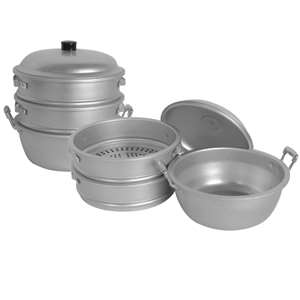"Thunder Group 11 1 / 2"" X 14 1 / 2"" 28 cm Big Hole / Bottom Aluminum Steamer, 1 Set, THUND-ALST004"