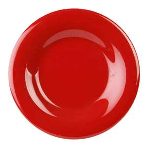 "Thunder Group 6 1 / 2"" Wide Rim Plate, Pure Red, 1 Dozen, THUND-CR006PR"