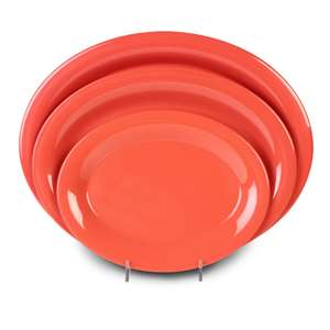 "Thunder Group 9 1 / 2"" X 7 1 / 4"" Platter, Orange, 1 Dozen, THUND-CR209RD"