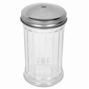 Thunder Group 12 oz Stainless Steel Perf Cap Sugar / Cheese Dispensers Hole On Top, 2 Dozen, THUND-GLTWSJ012H