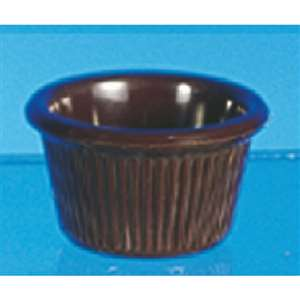 "Thunder Group 1 1 / 2 oz, 2 1 / 2"" Fluted Ramekin, Chocolate, 4 Dozen, THUND-ML507C"
