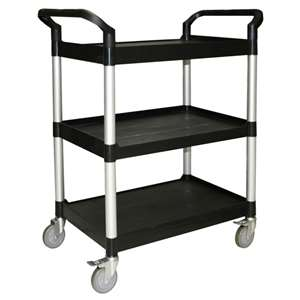 "Thunder Group 33 1 / 2"" X 16 1 / 8"" X 37"" 3-Tier Bus Cart, Black ( Kd ), 1 Each, THUND-PLBC3316B"
