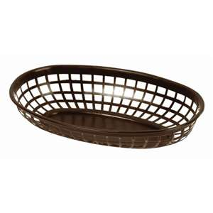 "Thunder Group 9 3 / 8"" Oval Basket, Brown, 1 Dozen, THUND-PLBK938B"
