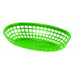 "Thunder Group 9 3 / 8"" Oval Basket, Green, 1 Dozen, THUND-PLBK938G"
