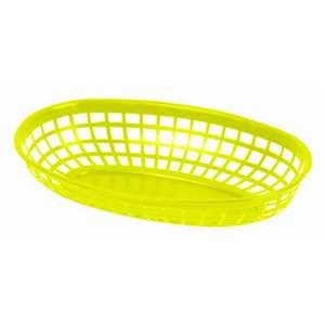 "Thunder Group 9 3 / 8"" Oval Basket, Yellow, 1 Dozen, THUND-PLBK938Y"
