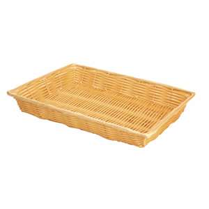 "Thunder Group 16"" X 11"" X 3"" Hand-Woven Basket With Handle, Plastic, 1 Each, THUND-PLBN1611T"