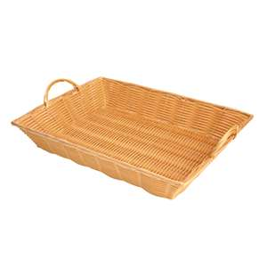 "Thunder Group 17"" X 12 3 / 4"" X 3"" Hand-Woven Basket With Handle, Plastics, 1 Each, THUND-PLBN1712T"