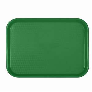 "Thunder Group 10 1 / 2"" X 13 5 / 8"", Fast Food Tray, Rectangular, Plastic, Green, 12 Each, THUND-PLFFT1014GR"