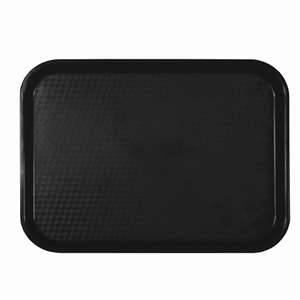 "Thunder Group 12"" X 16 1 / 4"", Fast Food Tray, Rectangular, Plastic, Black, 12 Each, THUND-PLFFT1216BK"