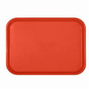 "Thunder Group 12"" X 16 1 / 4"", Fast Food Tray, Rectangular, Plastic, Red, 12 Each, THUND-PLFFT1216RD"