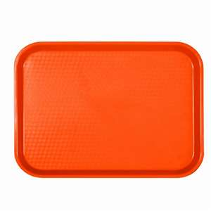 "Thunder Group 12"" X 16 1 / 4"", Fast Food Tray, Rectangular, Plastic, Orange, 12 Each, THUND-PLFFT1216RR"