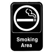 "Thunder Group 6"" X 9"" Information Sign With Symbols, Smoking Area, 12 Each, THUND-PLIS6902BK"