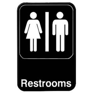 "Thunder Group 6"" X 9"" Information Sign With Symbols, Restrooms, 12 Each, THUND-PLIS6908BK"