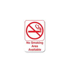 "Thunder Group 6"" X 9"" Information Sign With Symbols, No Smoking Area Available, 12 Each, THUND-PLIS6910RD"