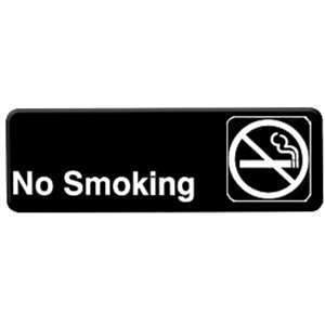 "Thunder Group 9"" X 3"" Information Sign With Symbols, No Smoking, 12 Each, THUND-PLIS9311BK"