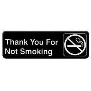 "Thunder Group 9"" X 3"" Information Sign With Symbols, Thank You For Not Smoking, 12 Each, THUND-PLIS9318BK"