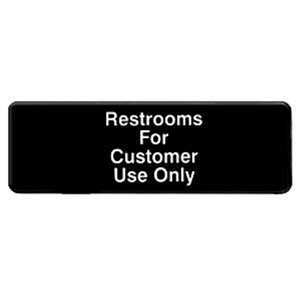 "Thunder Group 9"" X 3"" Information Sign With Symbols, Restroom For Customers Use Only, 12 Each, THUND-PLIS9321BK"