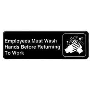 "Thunder Group 9"" X 3"" Information Sign With Symbols, Employees Must Wash Hands B.., 12 Each, THUND-PLIS9325BK"