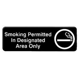"Thunder Group 9"" X 3"" Information Sign With Symbols, Smoking Permitted In Designed¡K, 12 Each, THUND-PLIS9327BK"