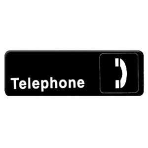 "Thunder Group 9"" X 3"" Information Sign With Symbols, Telephone, 12 Each, THUND-PLIS9328BK"