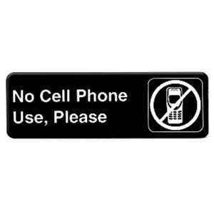"Thunder Group 9"" X 3"" Information Sign With Symbols, No Cell Phone Use Please, 12 Each, THUND-PLIS9332BK"