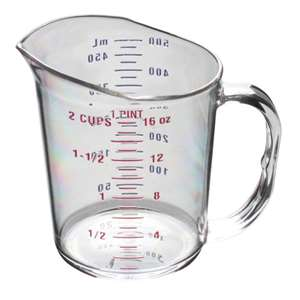 Thunder Group 1 Pint / 0.5L Polycarbonate Measuring Cup, 12 Each, THUND-PLMC016CL