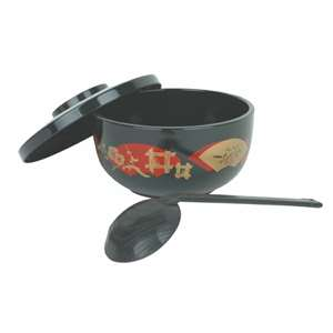 Thunder Group 30 oz, Japanese Noodle Bowl, Black, 1 Each, THUND-PLNB002