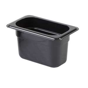 "Thunder Group Ninth Size 4"" Deep Polycarbonate Food Pan, Black, 12 Each, THUND-PLPA8194BK"