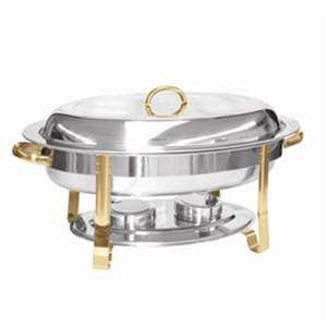 Thunder Group 6 Qt Gold Accented Oval Chafer, 1 Set, THUND-SLRCF0836GH