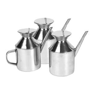 "Thunder Group 3"" X 4 3 / 4"" Stainless Steel 18 / 8 Chef'S Sauce Dispenser (With Round Handle), 12 Each, THUND-SLSD003H"