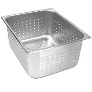 "Thunder Group Half Size 4"" Deep Perforated 24 Gauge Steam Pans, 6 Each, THUND-STPA7124PF"