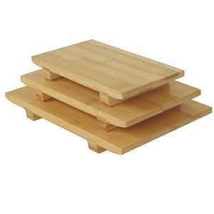 "Thunder Group 8 1 / 2"" X 4 3 / 4"" X 1 1 / 4"" Bamboo Sushi Plate Small, 6 Each, THUND-WSPB001"