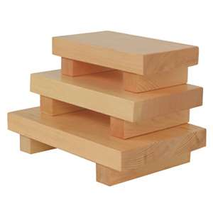"Thunder Group 9 1 / 2"" X 6"" X 2 1 / 4"", Wood Sushi Plate Medium, 6 Each, THUND-WSPW002"