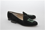 "Men's Dartmouth Black Suede Green ""D"" Loafer"