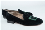 "Women's Dartmouth Black Suede Green ""D"" Loafer"