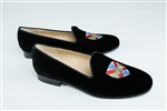 Women's Hampden Sydney Coat of Arms Black Velvet Loafer