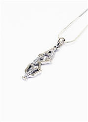 Sterling Silver Vertical Lavaliere with Lab-Created Diamonds