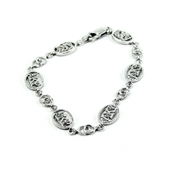 Sterling Silver Bracelet with Lab-Created Diamonds