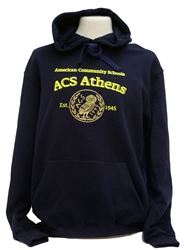 S08_Navy Hooded Sweatshirt with Large ACS Athens Loge and Large Owl