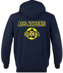 SA03_Hooded Sweatshirt with Small Lancer Logo on Front & Large ACS Athens Soccer Logo on Back
